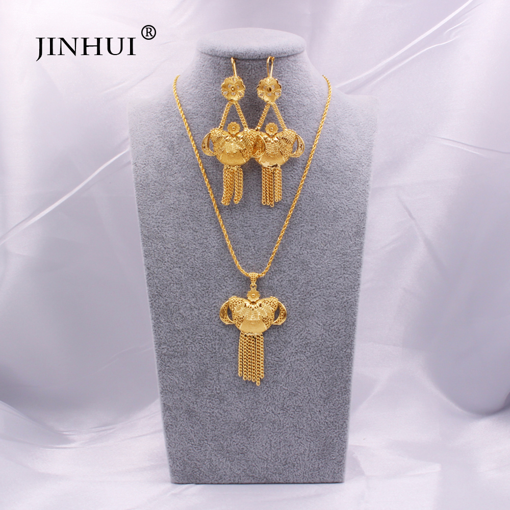 Saudi Arabia New gold Necklace Pendant Earrings <font><b>Jewelry</b></font> <font><b>sets</b></font> <font><b>for</b></font> <font><b>women</b></font> Ethiopian Dubai <font><b>Nigeria</b></font> Indian bridal wedding gifts <font><b>set</b></font> image