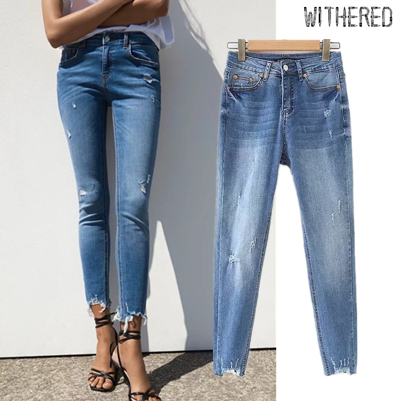 Withered High Street Vintage Hole Burrs Jeans Woman Skinny High Waist Jeans Ripped Jeans For Women Boyfriend Jeans For Women