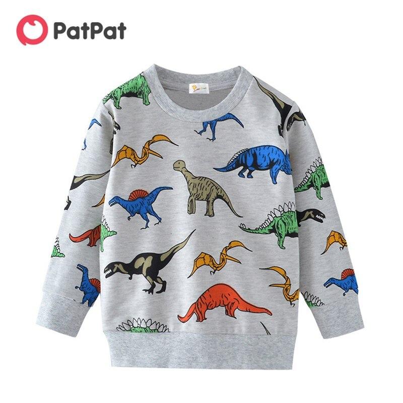 Новинка 2020, весенне осенняя Модная красочная Толстовка PatPat с длинными рукавами и мультипликационным изображением динозавра, одежда для мальчиков|Футболки| | АлиЭкспресс