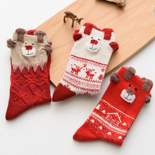 Autumn and winter womens socks elk  Christmas theme red gifts