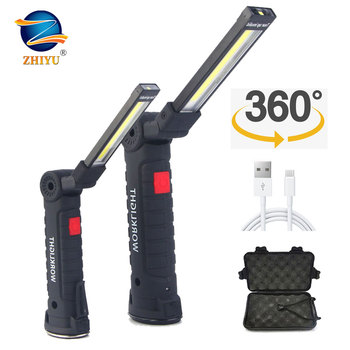 ZHIYU 5 Modes COB Working Flashlight LED Torch Vehicle Repairing Lamps USB Rechargeable Magnetic 360 rotating Portable Lights 1