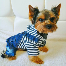 Denim Dog Jacket Stripe Dog Jumpsuit Fashion Cowboy Suit Chihuahua Jeans Vest Spring Rompers Clothes for Pugs Yorkshire Poodle