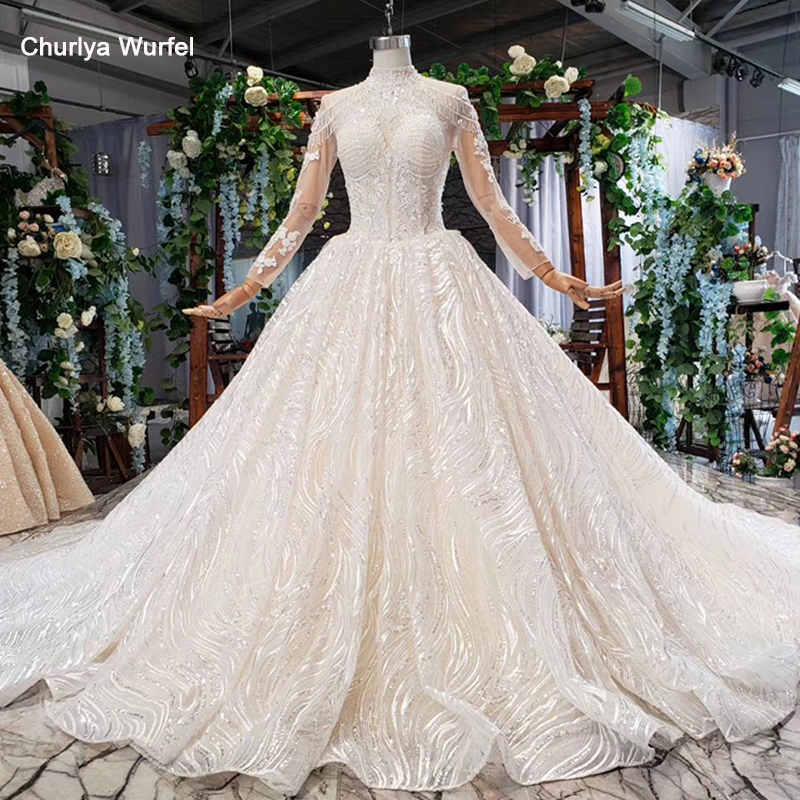 HTL784 princess wedding dress with long tail high neck long sleeves lace up back modest bridal gowns lace vestidos de novia 2019
