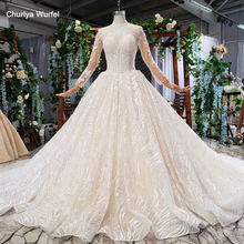 HTL784 נסיכת חתונת שמלה עם זנב ארוך גבוהה צוואר ארוך שרוולי תחרה עד בחזרה שמלות כלה צנוע תחרה vestidos דה novia 2020