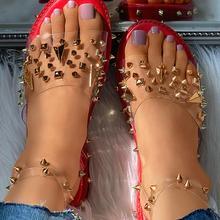 Gothic Shoes Rivet-Sandals Punk Women Summer Buckle Rubber Ankle-Strap Flat-Peep-Toe