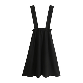 Strap Skirts Women Overalls Mori Girl Casual Sweet Ruffle High Waist Long Pleated Skirt Summer College Black Suspender Skirt sweet style solid color button embellished women s suspender skirt