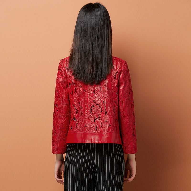 Genuine Leather Jacket Women Natural Sheepskin Coat Real Leather Coat Female Korean Casual Elegant Spring Clothes LWL1424