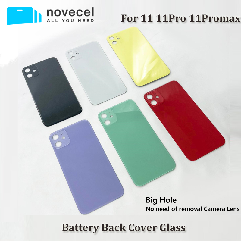 5pcs/lot Novecel Back Cover Case For iphone 11 11pro 11Promax Housing Rear Battery Door Replacement With Big Hole