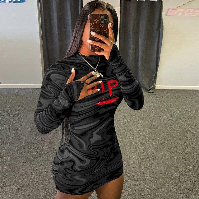 Sexy Black Bodycon Min Dress Fashion Letter Printed Dresses Long Sleeve Turtleneck Midi Club Dress Party Wear Women Clothing 2