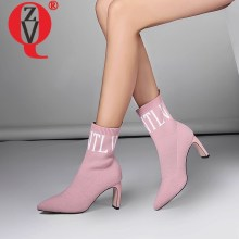 ZVQ Ladies Ankle Boots Women High Heels Fashion Party Shoes Pointed Toe Knitted Pattern Breathable Sock Booties Plus Size 34-43