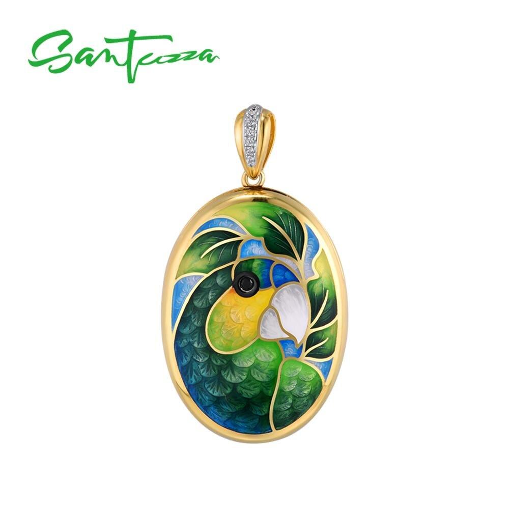SANTUZZA Silver Pendant For Women Pure 925 Sterling Silver Colorful Enamel Parrot Bird Photo Locket Trendy Fine Jewelry HANDMADE