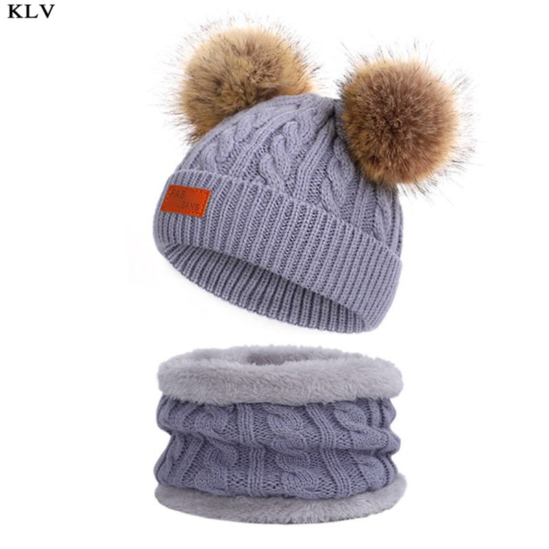 Kids Winter Beanie Hat Infinity Scarf Set Cute Fluffy Pompom Cap Neck Warmer AXYD