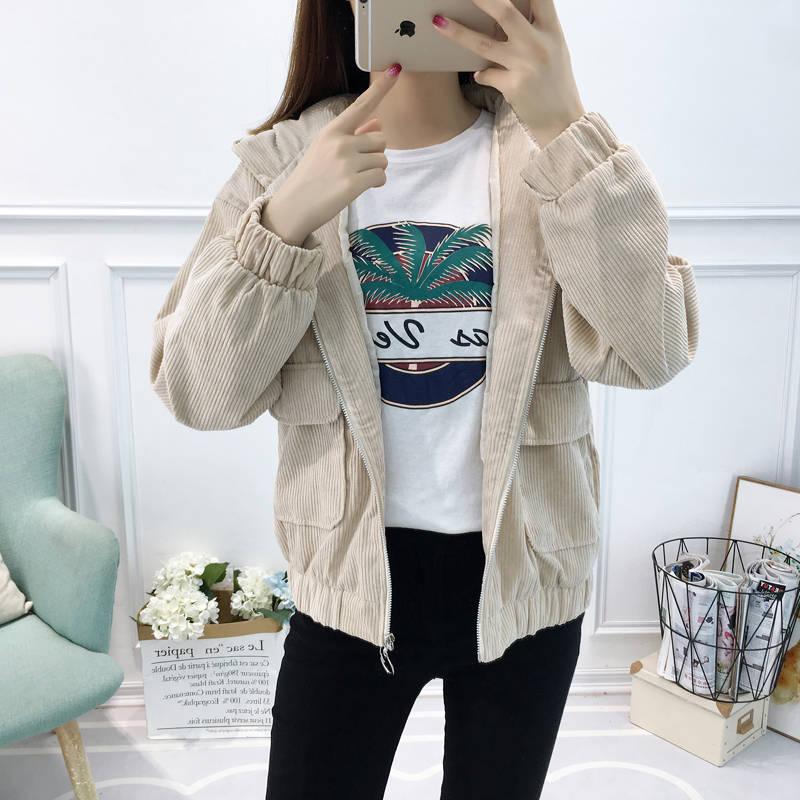 H27d346763d9c4ab5a14ebdc2c207f6d51 Jacket Chaqueta Coat  Clothes Streetwear New 2019 Women Jacket Long Sleeve Turn-down Collar Outerwear Brown Corduroy Coat Jacket