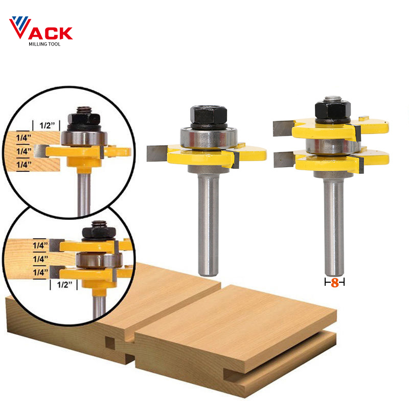 VACK 2pcs 8mm Shank Assemble Router Bits Tongue and Groove Joint  T-Slot Carbide Milling Cutters for Wood Woodwork Cutting Tools