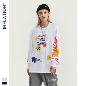 Image 5 - INFLATION Design Men Loose Fit Tee With Graphic Print Men Oversized T shirt Long Sleeve Front & Back Print Men T Shirt 91510W