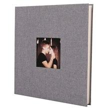 Альбом для фотографий с льняной обложкой, самоклеящаяся пленка «сделай сам» для скрапбукинга, памятного фото, клейкий тип, серый, домашний декор