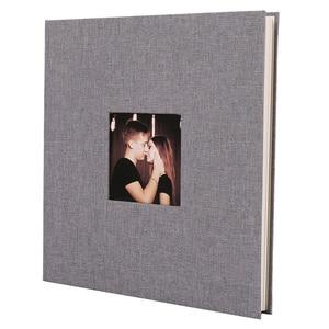 Image 1 - Linen Cover Picture Album Self adhesive Film DIY Handmade Scrapbook Memory Photo Book Sticky Type Grey Home Decor