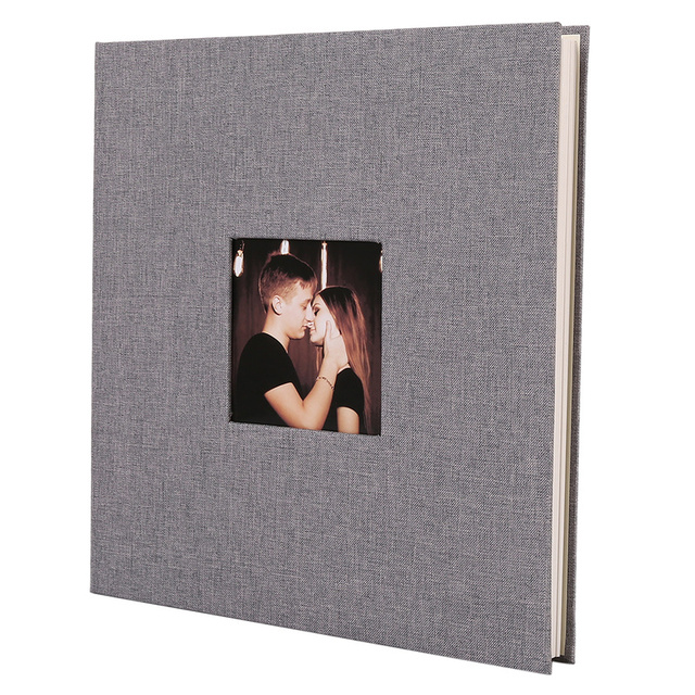 Linen Cover Picture Album Self adhesive Film DIY Handmade Scrapbook Memory Photo Book Sticky Type Grey Home Decor