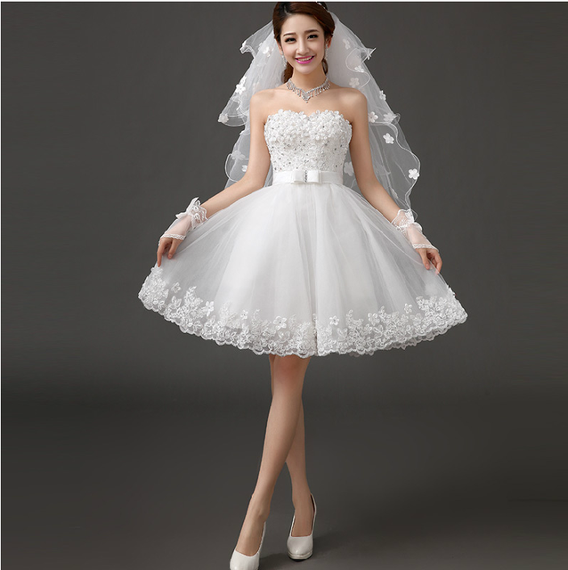 New white short knee length lady girl fairy wedding bridal dress party evening dancing performance dress free shipping 2