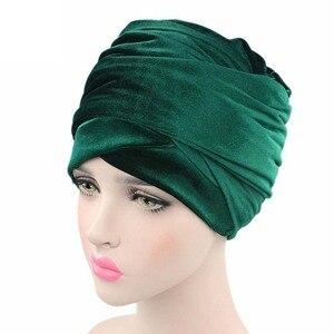 Image 5 - Helisopus kobiety moda styl aksamitna Turban muzułmanin długi tren Cap jednolity kolor owinięty szalik na głowę kapelusz panie Headwrap szalik