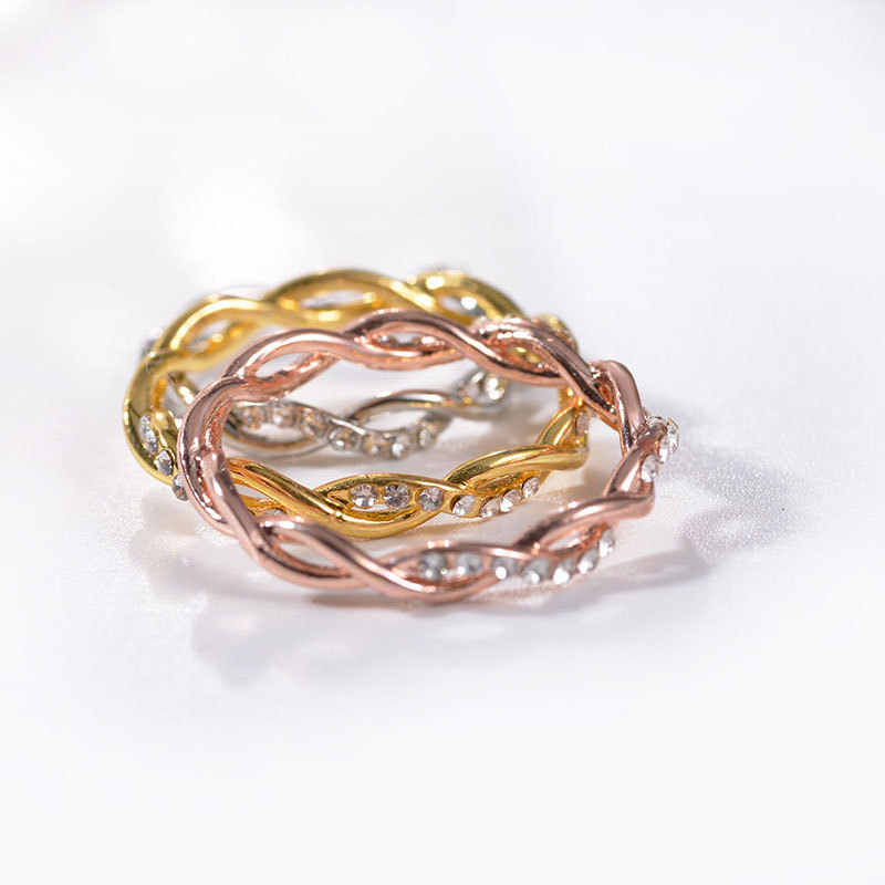 אופנה קריסטל טוויסט טבעת טוויסט כלה טבעות לנשים אנל תכשיטי זהב עלה זהב צבע טבעת תכשיטי Anillos Aneis