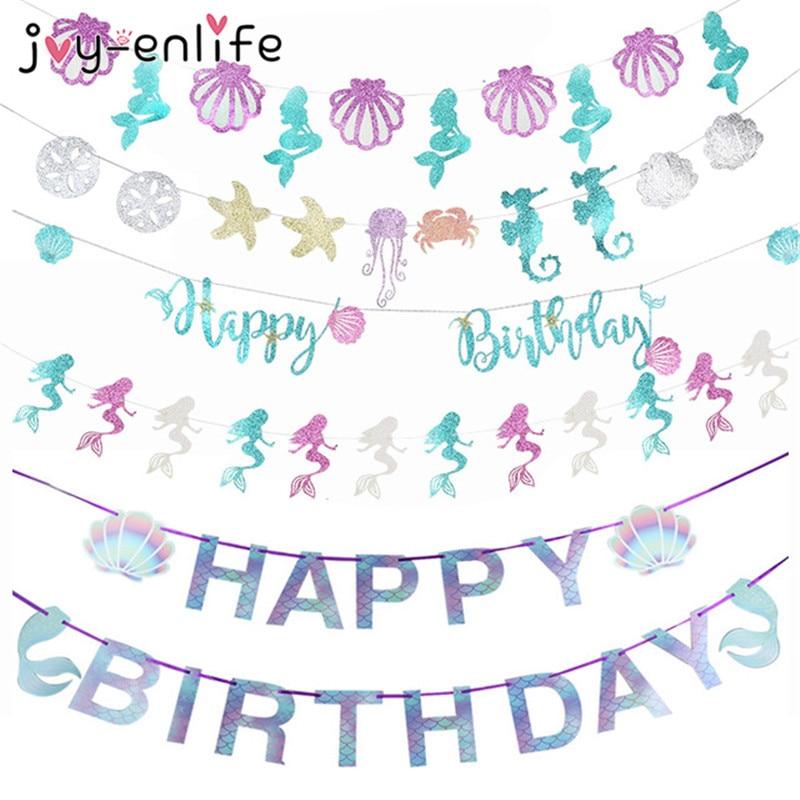 Баннер на день рождения с изображением русалки, украшение для вечевечерние, гирлянда для 1-го дня рождения для маленьких девочек, хвост руса...