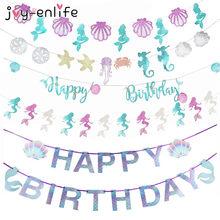 Feliz aniversário bandeira de sereia decoração guirlanda, bebê menina decoração da 1ª aniversário bandeira de cauda de sereia fonte de chuveiro do bebê