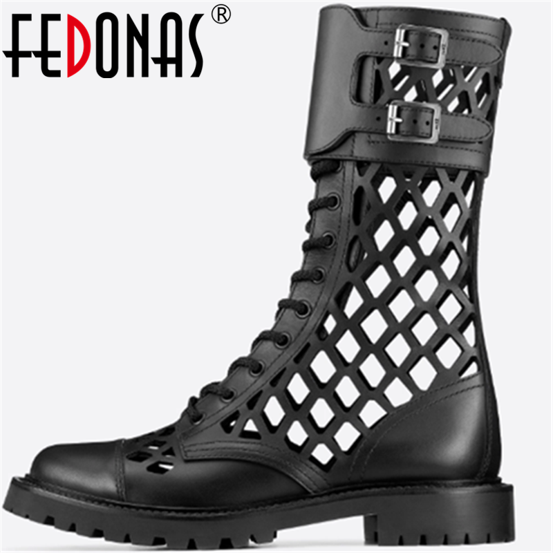 FEDONAS Sexy Genuine Leather Women Shoes Thick Heels Pumps Spring Summer Metal Buckle Round Toe New 2020 Retro Party Shoes Woman
