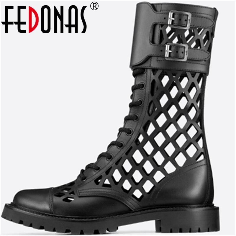 FEDONAS סקסי עור אמיתי נשים נעלי עקבים עבים משאבות אביב קיץ מתכת אבזם עגול הבוהן חדשה 2020 רטרו מפלגה נעליים אישה