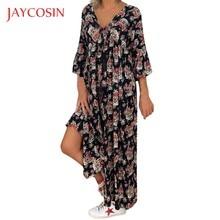 Jaycosin longo maxi vestido feminino casual solto plus size estampado vestidos de manga comprida com decote em v 5xl vestido feminino vestido de verão robe femme 86