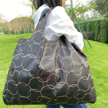 Foldable Shopping Bag Reusable Grocery Bag Tear-Proof Nylon Bag Suitable For Grocery Recycling Gift Bag Large 1