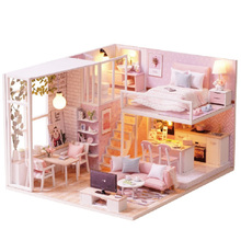 цена на Diy Doll House Miniature Dollhouse with Furnitures Wooden House with Dust Cover Miniatures Toys for Children New Year Christmas