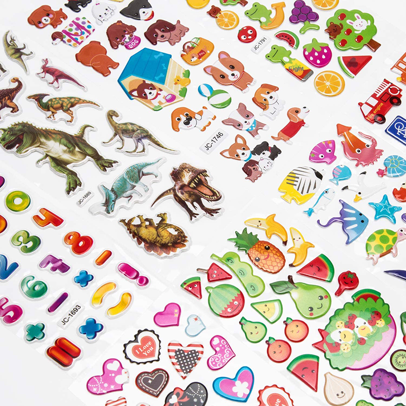 3D Stickers for Kids Toddlers 20/8 Different Sheets 3D Puffy Bulk Sticker Cartoon Education Classic Toy Children Boys Girl Gifts 5