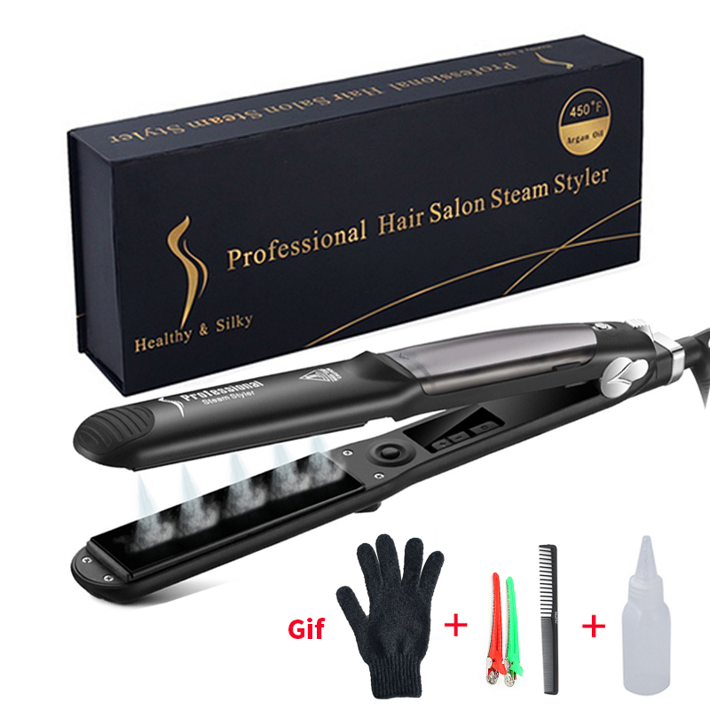 Professional Ceramic Steam Hair Straightener Fast Heating Hair Flat Iron VaporStraightening Iron Curler Steamer Hair Style Tool