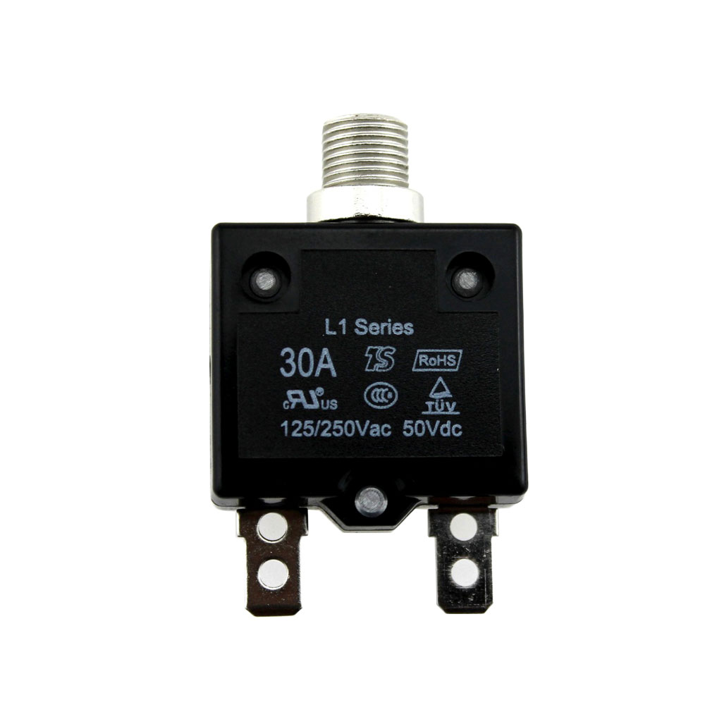 IZTOSS 30Amp Circuit Breakers with manual reset Waterproof Button transparent Cover DC50V AC125-250V with Quick Connect Terminals
