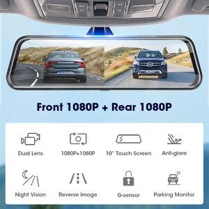 """Image 2 - جانسايت 10 """"جهاز تسجيل فيديو رقمي للسيارات تيار وسائل الإعلام مرآة عدسة مزدوجة مسجل فيديو شاشة تعمل باللمس مسجل داش كام التحكم الصوتي 1080P كاميرا خلفية"""