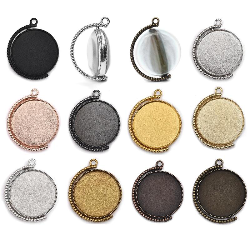 10pcs Rotation Double Side Blanks Cameo 20/25/30mm Dia Cabochon Base Setting Bezel Tray Fashion Charm Pendant DIY Jewelry Making