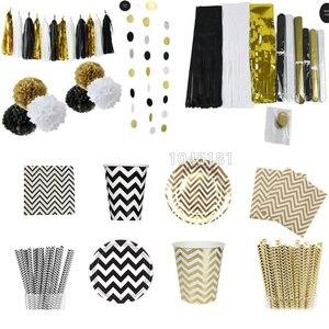 Одноразовая посуда для вечеринок черного, золотого, белого цвета, чашки шампанского, соломинки, декор для вечеринки на 1 день рождения, детск...