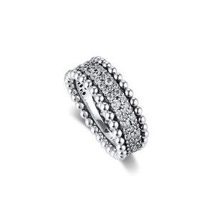 Image 4 - CKK bague perlée pavé anneaux femmes Anel Feminino 100% 925 bijoux en argent Sterling Anillos Mujer mariage bagues pour fiançailles