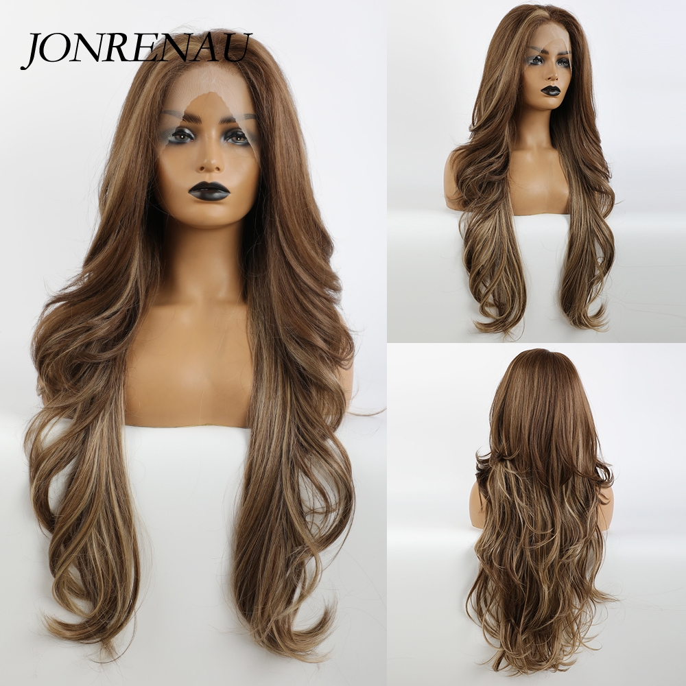 JONRENAU Long Mixed Dark Brown with Highlight Lace Front Synthetic Hair Wigs Body Wave for Black Women Afro Lace Hair Wig