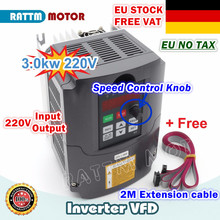 [EU Delivery/Free VAT] 3KW Variable Frequency Drive VFD Inverter инвертор 220V 4HP Output 3 Phase 13A&2M Extension Cable