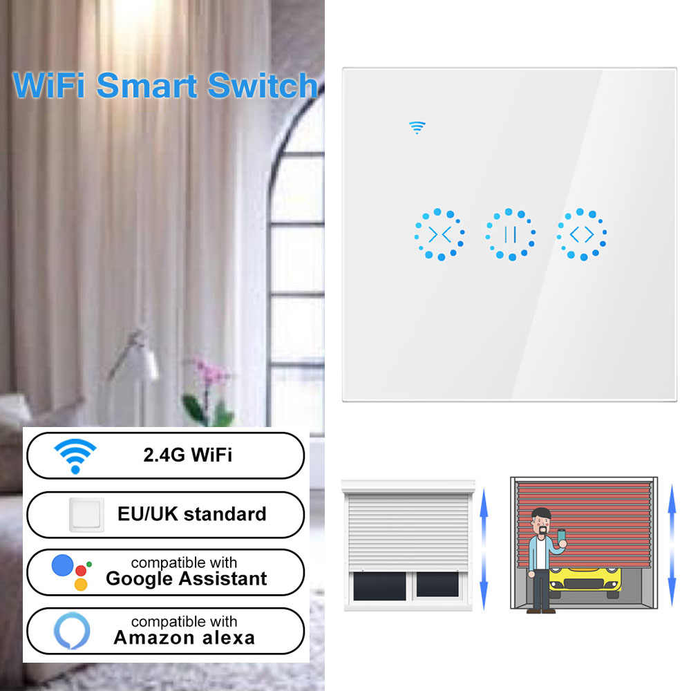 US/EU inteligente WiFi eléctrico táctil cortinas interruptor Ewelink APP Control de voz por Alexa eco mecánica límite de persianas