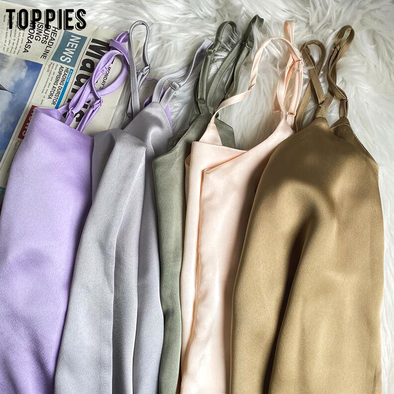 2020 Summer Women Sexy Satin Camis Vintage Luxury Imitation Silk Shiny Camisole Solid Color Tank Tops(China)