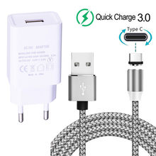 For Huawei P40 Honor view 20 30 Pro Magnetic Type C Charge Cable Redmi 9 Note 8 9s 5V 2A Wall Plug USB charger For Samsung A30s(China)