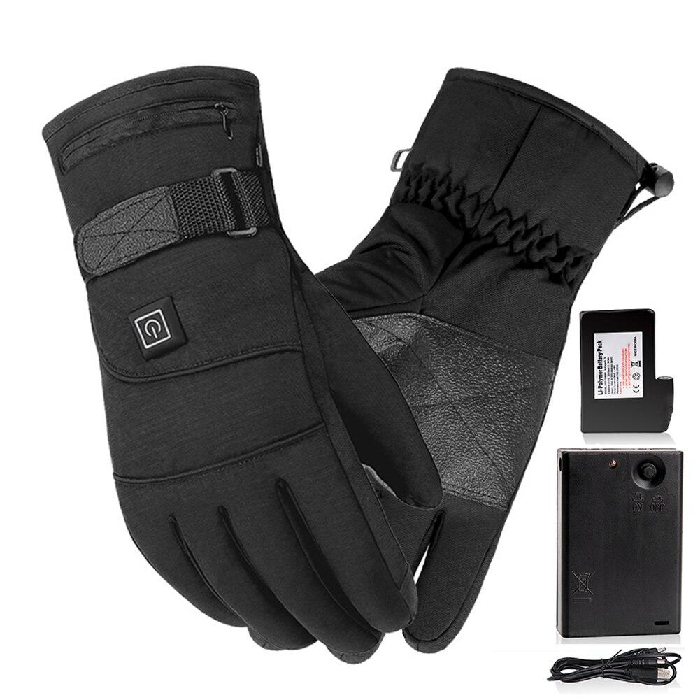 Перчатки с электроподогревом для мужчин и женщин, зимние перчатки с электроподогревом для катания на лыжах, теплые сенсорные перчатки с электроподогревом, 4000 мАч, перчатки с электроподогревом