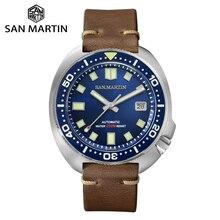 סן מרטין גרסה משודרגת צב Diver שעון 20 בר נירוסטה גברים האוטומטי מכאני ספיר Horween עור זוהר