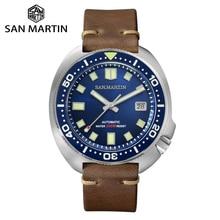 San Martin Reloj de buceo con Tortuga para hombre, versión mejorada, 20 Bar, acero inoxidable, automático, mecánico, zafiro, Horween, cuero, luminoso