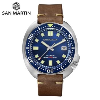 San Martin Upgraded Version Turtle Diver Watch 20 Bar Stainless Steel Men Automatic Mechanical Sapphire Horween Leather Luminous - discount item  29% OFF Men's Watches