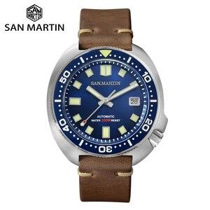 Image 1 - San Martin yükseltilmiş versiyonu kaplumbağa dalgıç izle 20 Bar paslanmaz çelik erkekler otomatik mekanik safir Horween deri ışık
