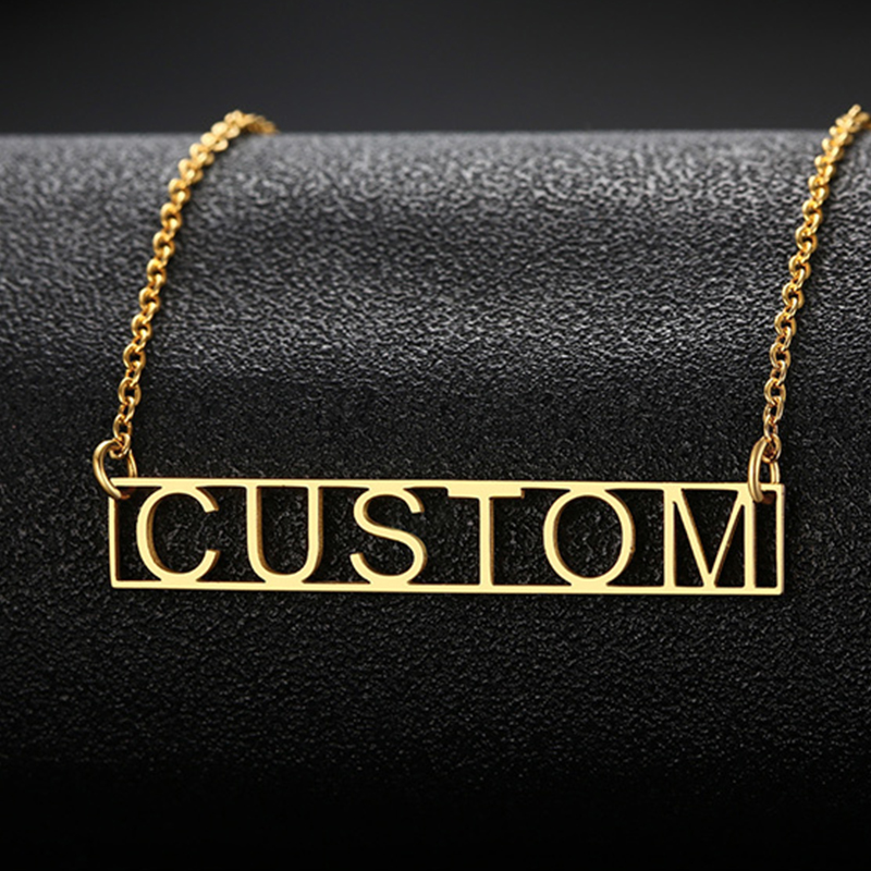 Hollow Bar Necklace Custom Roman Numeral Date Greek Letters Necklace stainless steel gold necklace handmade jewelry Couple Gift